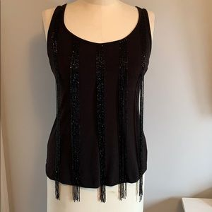 Marciano knit tank with strands of beads
